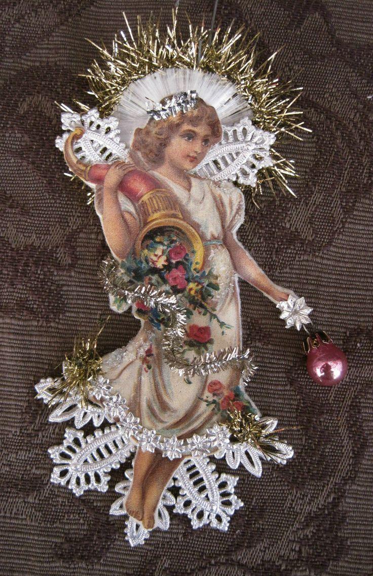 Victorian ANGEL Scrap & Dresden Christmas Ornaments*Handmade ...