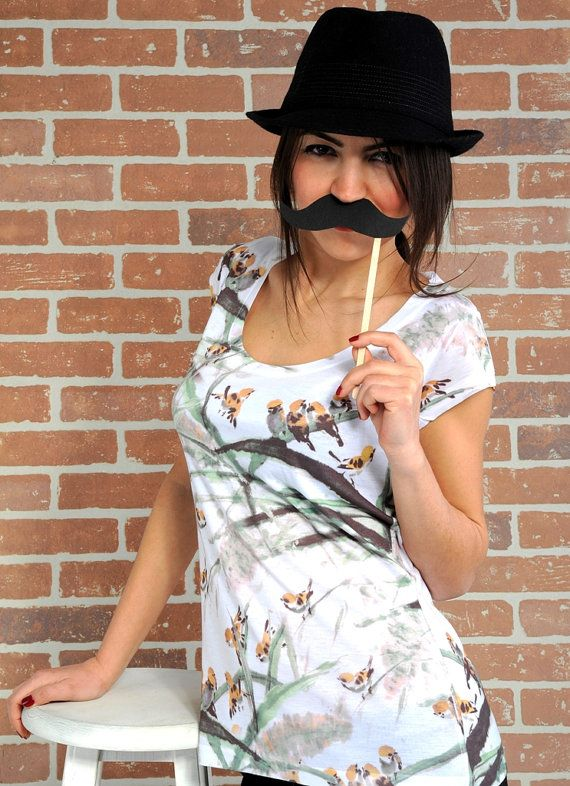 Bird top with moustache by nikacollection on Etsy, $32.00