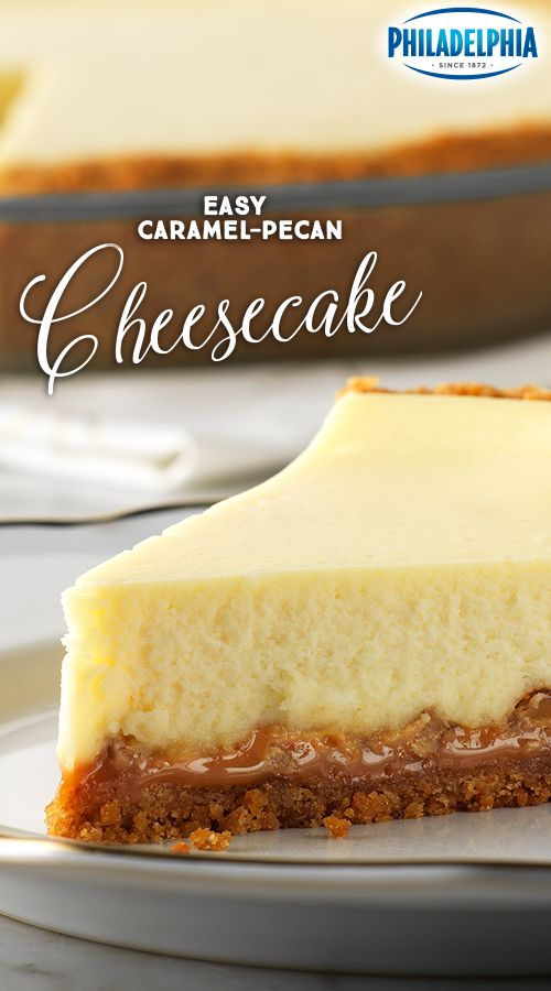 The holidays aren't complete until you have at least one bite of our Easy Caramel-Pecan Cheesecake. PHILADELPHIA Cream Cheese and homemade graham cracker crust are the foundation of this dessert. A layer of KRAFT Caramels with PLANTERS Pecans create the perfect holiday blend. You might have to take a few more bites.