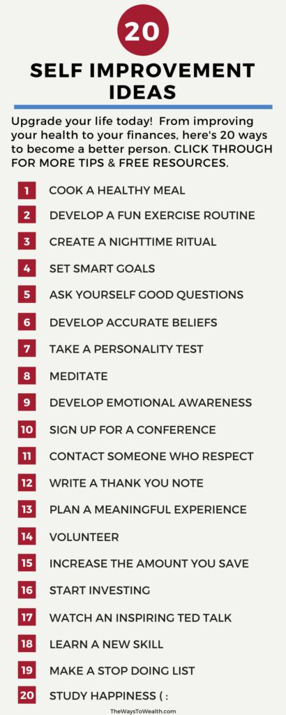20+ Self improvement ideas. Upgrade your life today. A long list of ways to make yourself a little bit better.