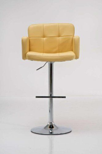 CLP Bar Stool Los Angeles Faux Leather Design Swivel Chair Chrome Base Kitchen Adjustable Adjustable yellow