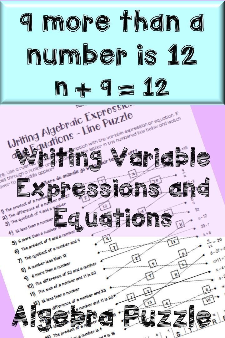 Writing variable expressions and equations. Intro to algebra topics for middle school or high school. Algebra activity puzzle.