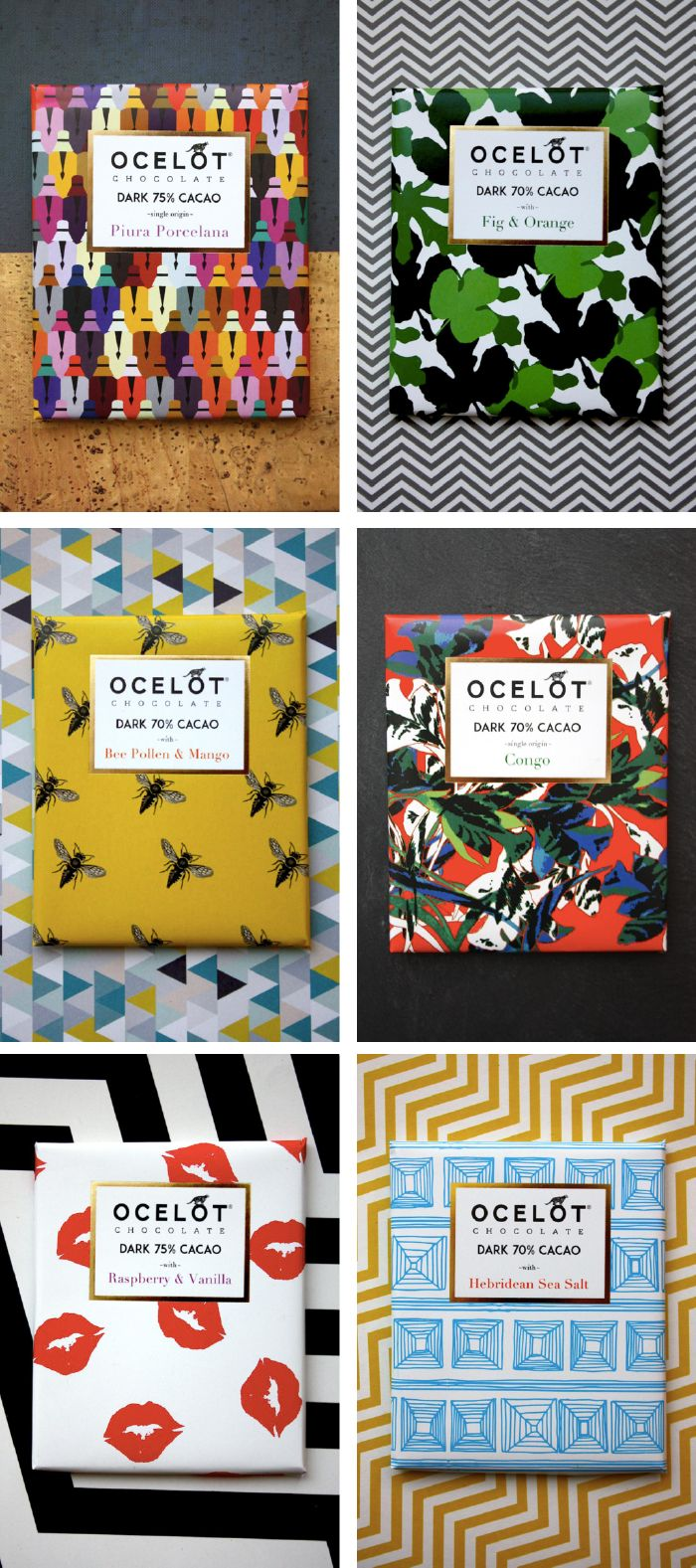 Ocelot Chocolate Bars: I like the patterns & the typo details