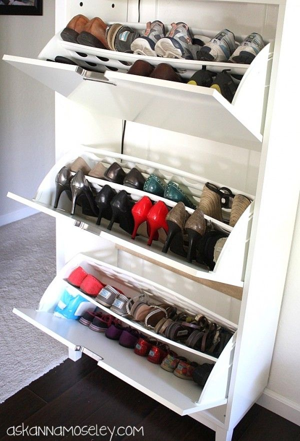 """Entry shoe organization via Ask Anna. The """"brilliant, why didn't I think of that"""" idea is storing baby wipes w kids shoes for days her daughter has really dirty feet."""