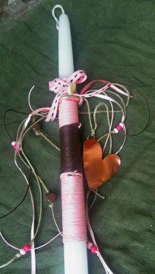 Μεγάλο στρογγυλό κερί/ καφέ και ροζ σπάγκος/ κορδέλες/χάντρες/ χάλκινη μεγάλη καρδιά | myartshop