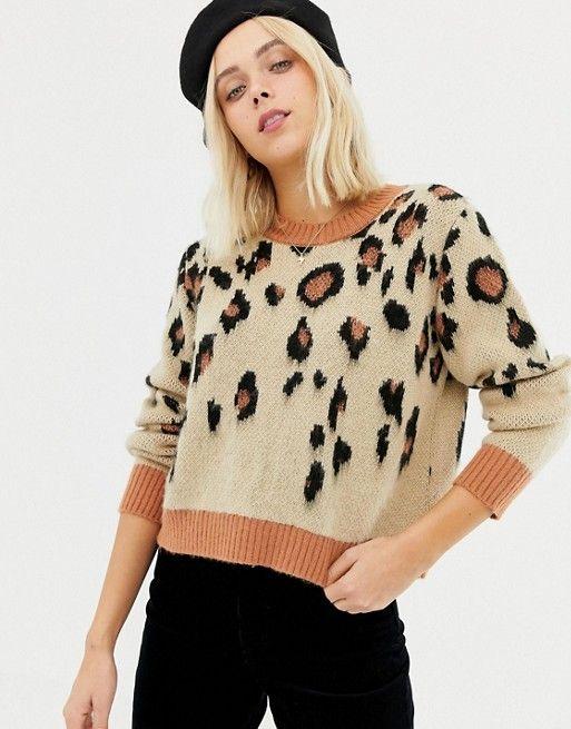 e98adff9b0e Miss Selfridge sweater in leopard