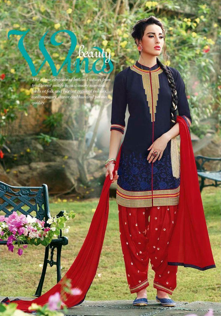 Latest Designer Blue And Red Cotton Patiyala Salwar Suit