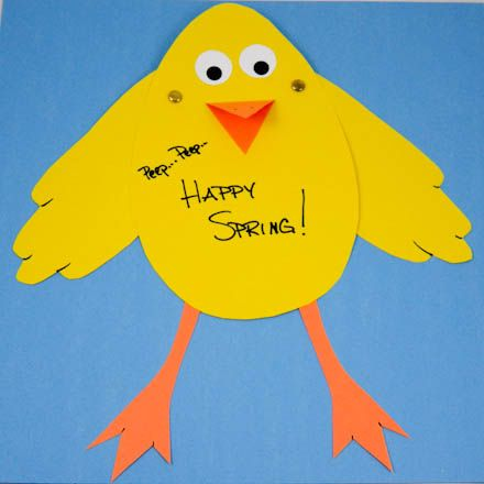An Easter craft for the kids but would also make a wonderful hanging or bulletin board decoration.  http://www.auntannie.com/Easter/EasterChickCard/
