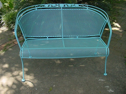 woodard wrought iron patio settee porch lawn