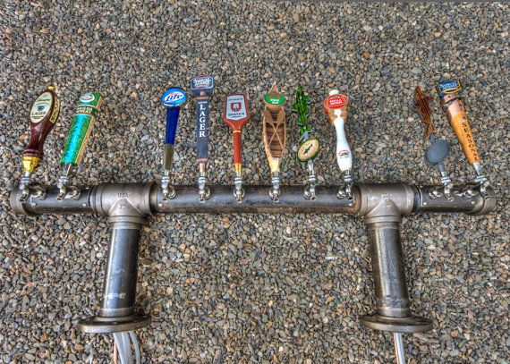 Unique Custom 10 Or 12 Tap Iron Pipe Beer Tap Tower Double