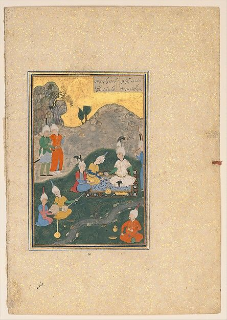 """Alexander at a Banquet"", Folio from a Khamsa (Quintet) of Nizami Author: Nizami (Ilyas Abu Muhammad Nizam al-Din of Ganja) (probably 1141–1217) Calligrapher: Sultan Muhammad Nur (ca. 1472–ca. 1536) Object Name: Folio from an illustrated manuscript Date: A.H. 931/A.D. 1524–25 Geography: present-day Afghanistan, Herat Culture: Islamic Medium: Ink, opaque watercolor, silver, and gold on paper"
