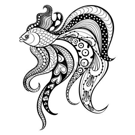 Zentangle vector de los pescados del oro por un tatuaje en boho estilo inconformista Ornamental ilus Foto de archivo