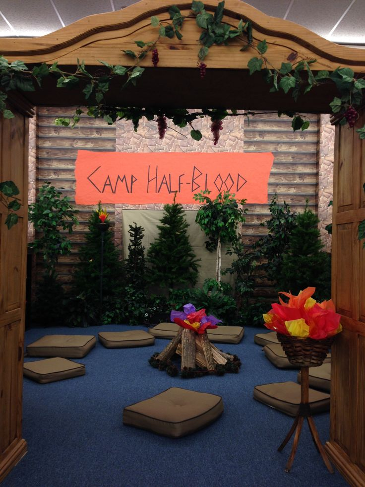 We turned our regular log cabin themed reading area into Camp Half Blood to celebrate the release of the latest Percy Jackson book.  The kids loved it!