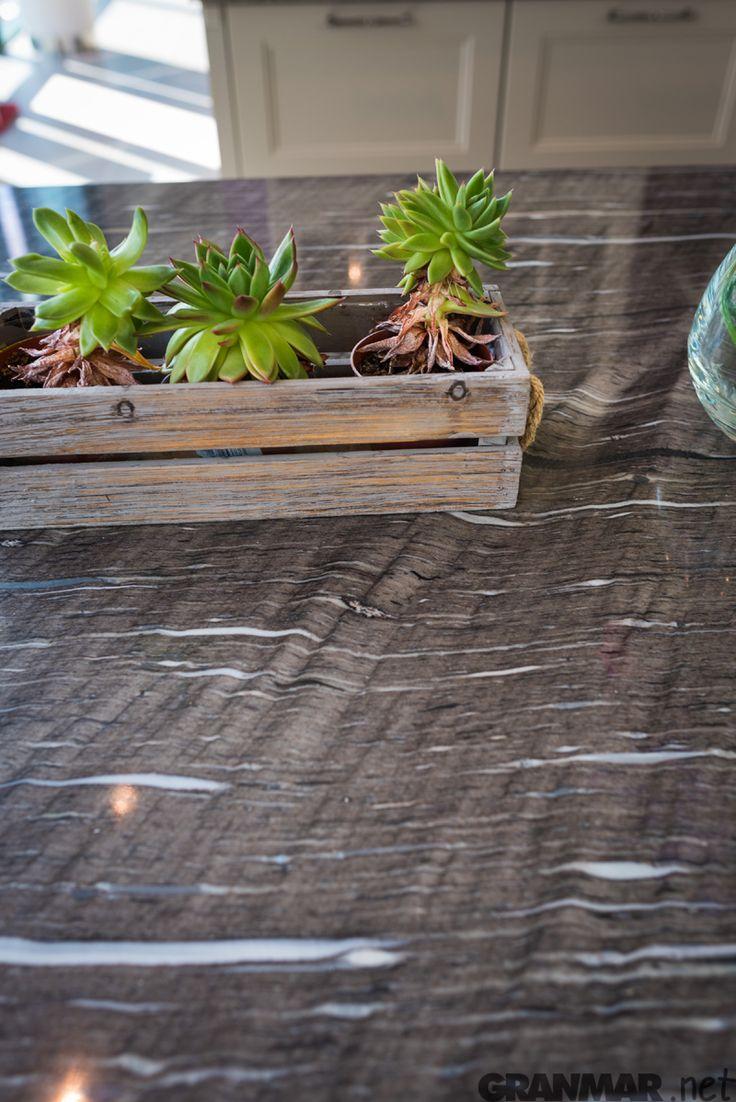 Zbliżenie na brazylijski naturalny kwarc Brown Silk GRANMAR.net