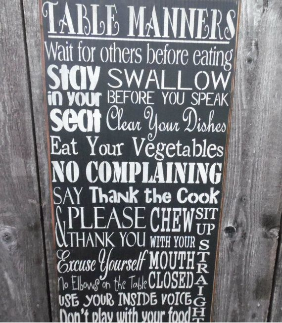 Love the Cider House Mill website! (wooden signkitchen wall decor table manners by CiderHouseMill, $45.00)