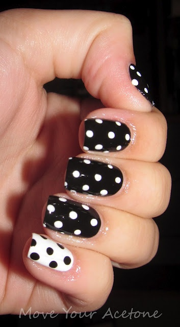 Black and white polka dots. CND Blackjack base with OPI Alpine Snow dots. Need to buy a dotting tool!!!