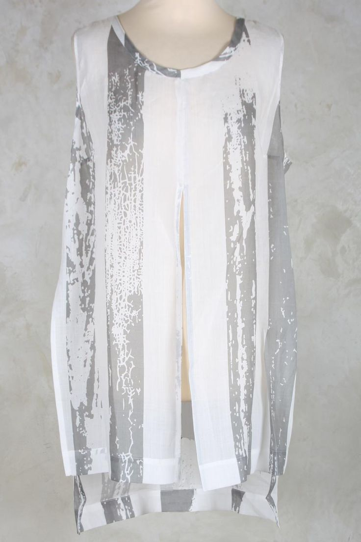Sheer Tunic with Split at Front in Spot Print - Crea Concept