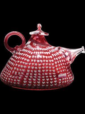 "Richard Marquis ""Ruby Heart Murrini TeapotRuby Heart, Marquis Ruby, Teapots Pitchers Ewers Jugs, Teas, Murrini Teapots Glasses, Marquis 1979, Glasses Teapots, Heart Murrini, Art Glasses"