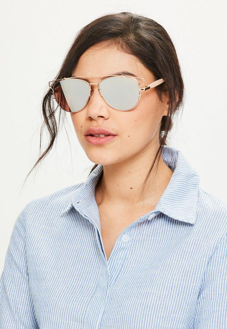 Missguided - Rose Gold Metal Frame Aviator Sunglasses