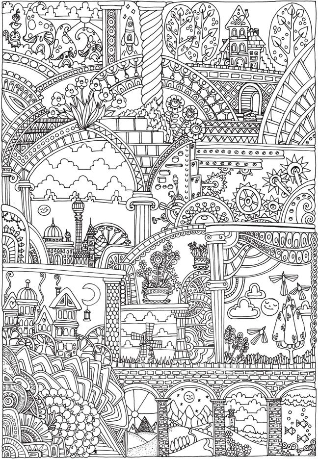 Creative haven insanely intricate entangled landscapes Landscape coloring books for adults