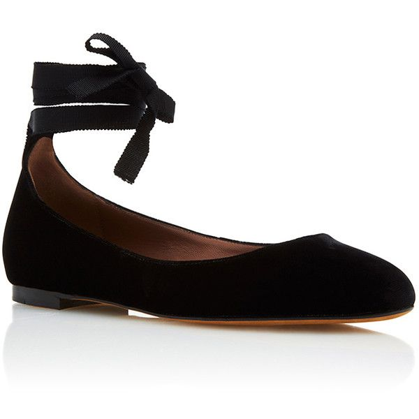 Tabitha Simmons     Daria Ballerina Flat found on Polyvore featuring shoes, flats, black, black flat shoes, ballet shoes, ankle wrap flats, ballet flat shoes and ballerina pumps