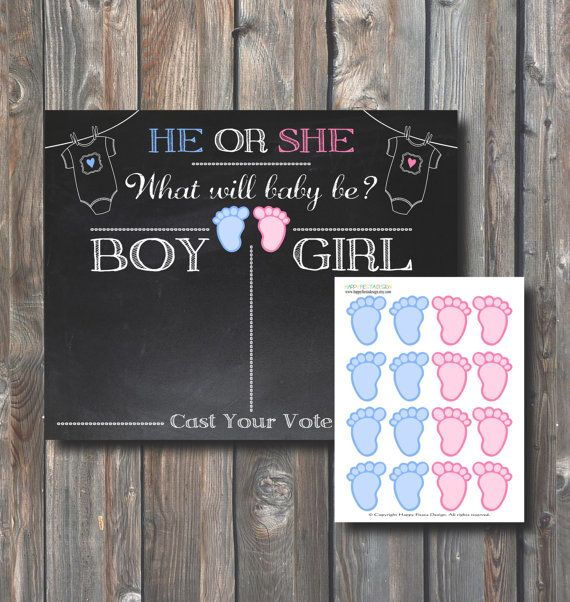 PRINTABLE Baby Gender Voting Chalkboard 16x20-Guess Baby Gender-Baby Shower Gender Reveal-Baby Shower Game-Boy or Girl–Instant Download-GR1