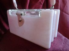 VINTAGE UNIQUE PINK PLASTIC PURSE WITH SCALLOPED ENDS CLEAR FLORAL LID!!!!