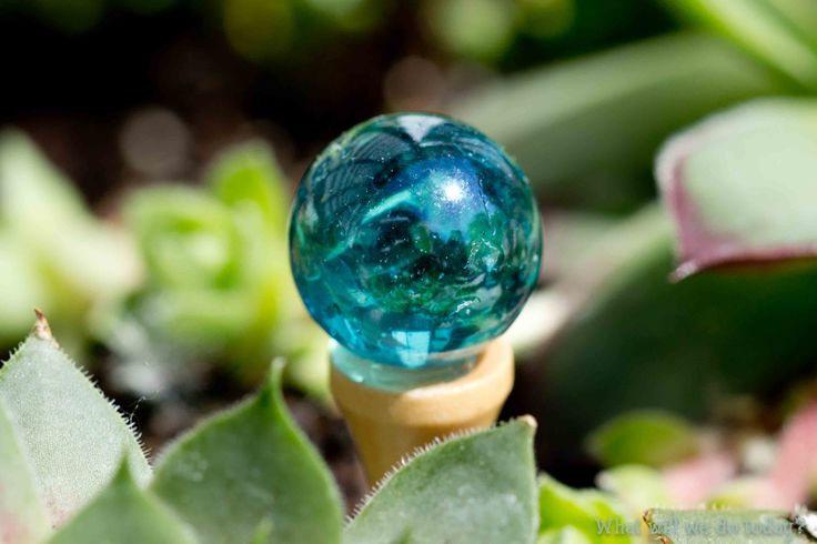 Fairy Garden Home Gazing Ball - small marble glued to a long golf tee.