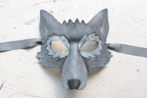 What a beautiful gray wolf mask. The perfect Halloween costume to raise awareness about the species.