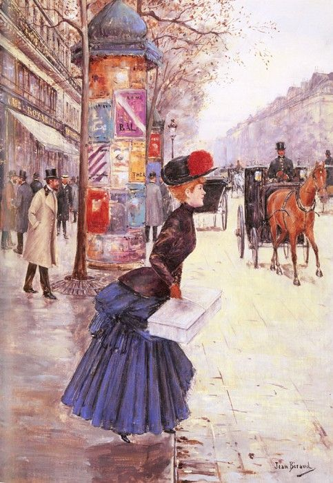 Молодая женщина, переходящая через бульвар. Беро Жан