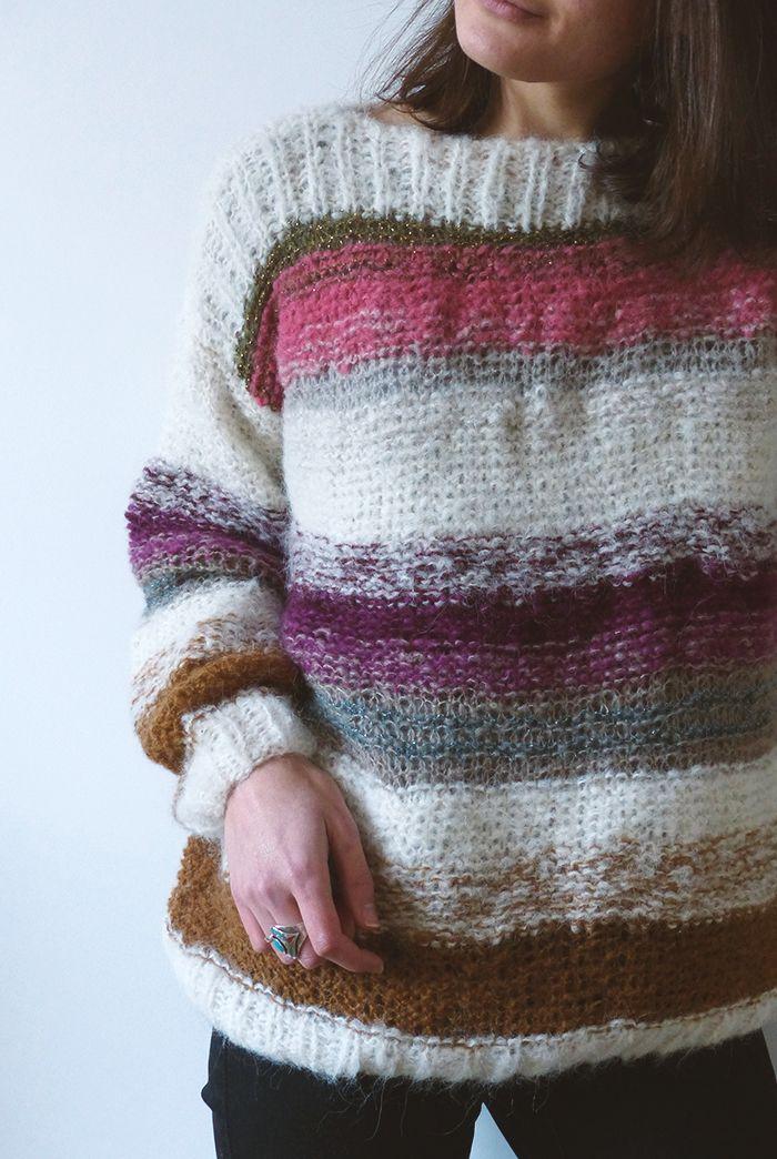 Ma grande mission est toujours d'utiliser un maximum les restes de laine. C'est une double satisfaction, vider son stock ET se faire deux fois plus de pull