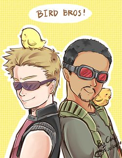 """Now we have Science Bros and Bird Bros!! (And Thor and Cap can be Doesn't-understand-modern-technology-blonde-who-lost-his-dark-haired-""""brother"""" Bros!!)"""