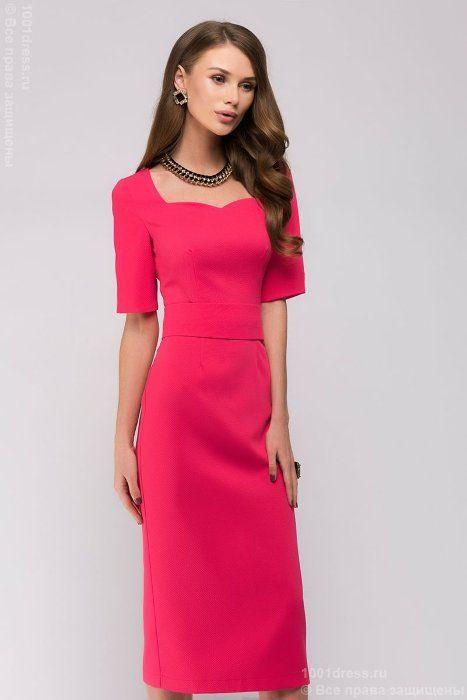 Розовое платье длины миди с разрезом на рукаве 1