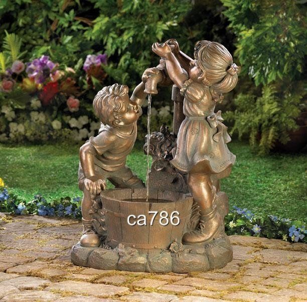Outdoor Water Fountains BOY GIRL PLAY STATUE ART GARDEN OUTDOOR
