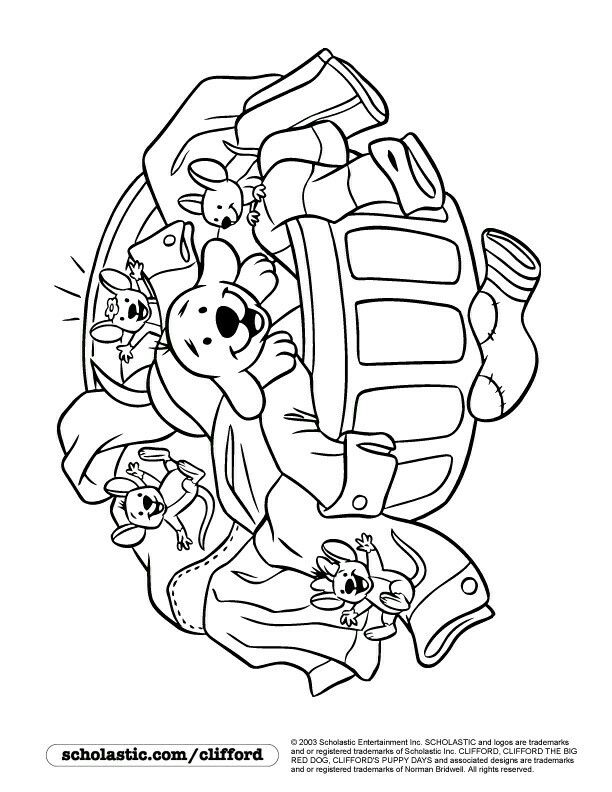 laundry time coloring page - Clifford Puppy Days Coloring Pages