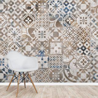 Printed Tiles Wallpaper Wallsauce Us Printed Tile Tile Wallpaper Wall Painting Living Room