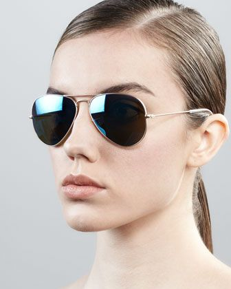 g 15 xlt lenses ray ban sunglasses  aviator sunglasses with flash lenses, gold/blue mirror by ray ban at bergdorf