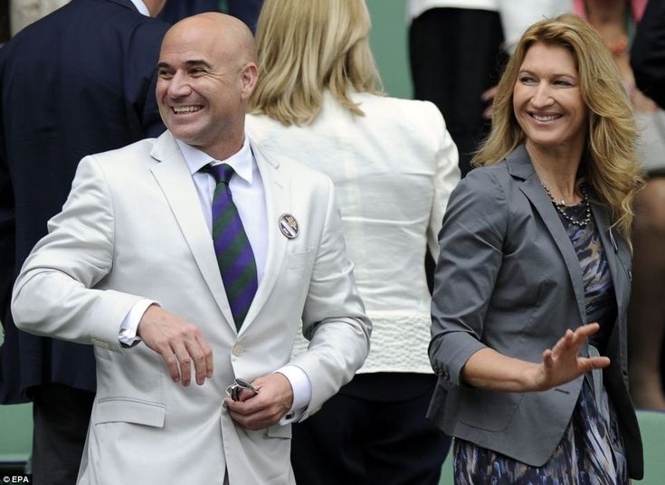 Former tennis greats Andre Agassi and Steffi Graf chatted to guests and gave their expert analysis during men's quarter finals on Centre Court