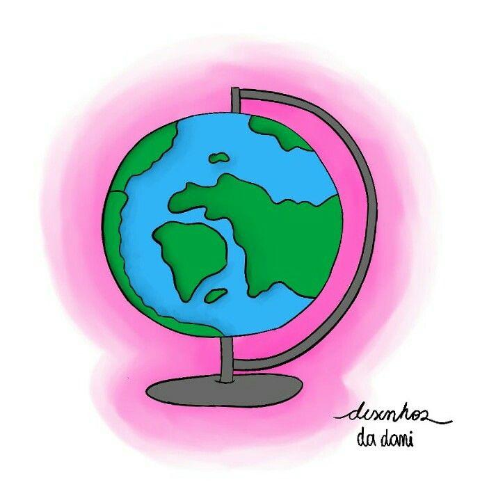 Pra qual(is) lugar(es) vocês gostariam de viajar?  ❤ #desenhosdadani2018 #desenhosdadani #desenhos #ilustrações2018 #draw #dibujo #desenhodigital #artedigital #ilustração #globoterrestre #mundo #planetaterra