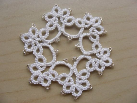 Tatting  Set of 2 Tatted Ornaments with beads by Crochettthings