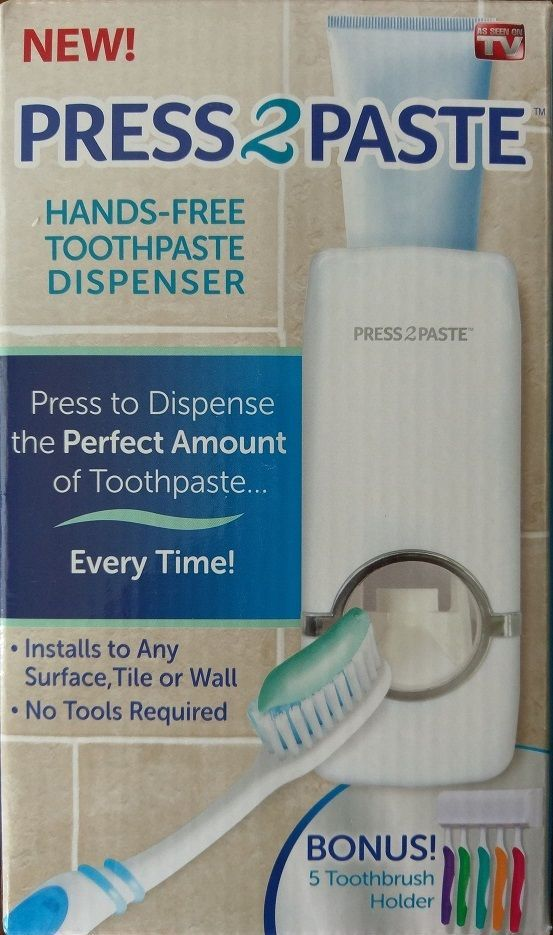 Press2Paste Press 2 Paste Hands Free Toothpaste Dispenser w/ 5 Toothbrush Holder #AllstarProductsGroup