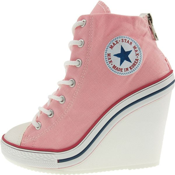 Maxstar Women's 777 Back Zipper Canvas High Wedge Heel Sneakers Pink ($77) ❤ liked on Polyvore featuring shoes, sneakers, canvas shoes, canvas trainers, canvas sneakers, pink canvas shoes and pink trainers