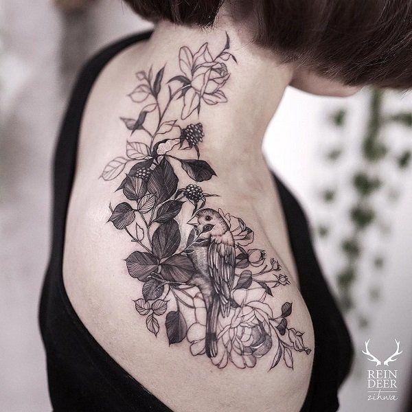 Flower and bird shoulder tattoo - 55 Awesome Shoulder Tattoos