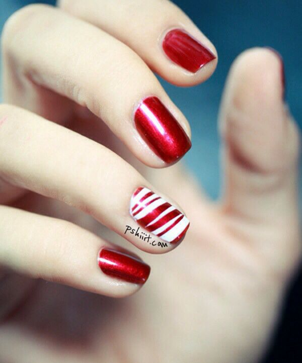 Red and white nails art | Pulchritude | Pinterest
