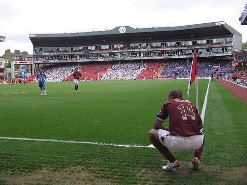 The last game at Highbury, Arsenal FC's former ground. A view of the Clock End - indeed one of football's most historic and quaint stadiums.