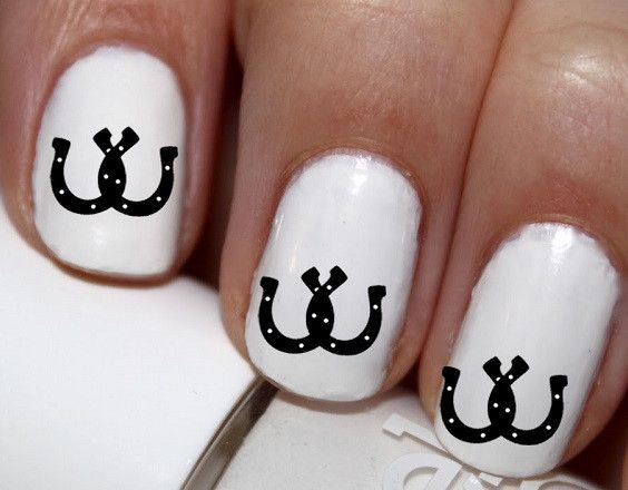 50 pc Black Dbl Horse Love Horse Shoes Nail Decals Nail Art Nail Stickers Best Price CC14