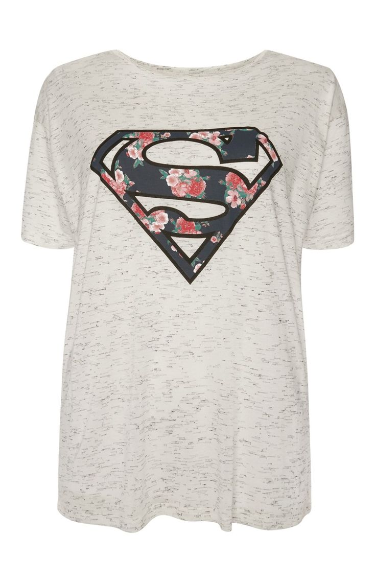Primark - Grey Floral Superman T-Shirt