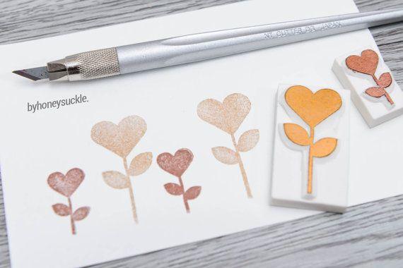 heart flower stamp heart stamp blooming flower by byhoneysuckle