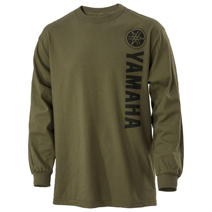 The Yamaha Vertical Olive Long Sleeve Tee is a 100% cotton regular fit jersey tee. This tee features a Yamaha logo screen printed vertically in black on the front.