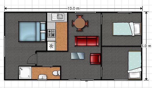 PLANS: The layout of a three-bedroom NZ Transportable Unit house.